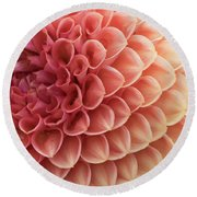 Peachy Dahlia Round Beach Towel