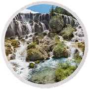 Pearl Shoal Waterfall Round Beach Towel