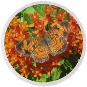 Pearly Crescentspot Butterfly Round Beach Towel