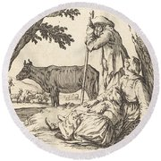 Peasant Couple With Cow Round Beach Towel
