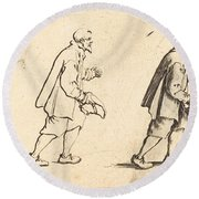 Peasant With Hat In Hand Round Beach Towel