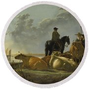 Peasants And Cattle By The River Merwede Round Beach Towel