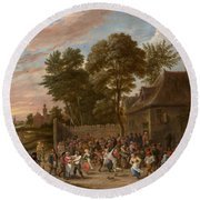Peasants Dancing And Feasting Round Beach Towel