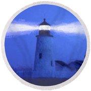 Pemaquid Lighthouse Round Beach Towel