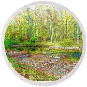 Pennsylvania Stream In Autumn, Digital Art Round Beach Towel