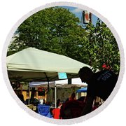 People At Food Event Round Beach Towel