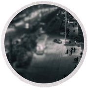 People At Night From Arerial View Round Beach Towel