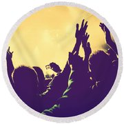 People With Hands Up In Night Club Round Beach Towel