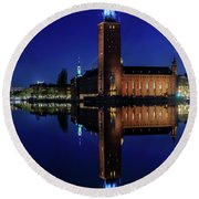 Perfect Stockholm City Hall Blue Hour Reflection Round Beach Towel