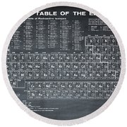 Periodic Table Of Elements In Black Round Beach Towel
