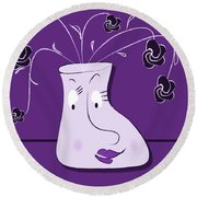 Personality Vase Round Beach Towel
