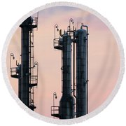 Petrochemical Plant Industry Zone Twilight Round Beach Towel