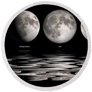Phases Of The Moon Round Beach Towel