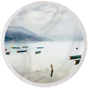 Phewa Lake In Pokhara, Nepal Round Beach Towel
