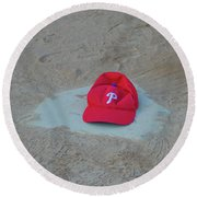 Phillies Hat On Home Plate Round Beach Towel