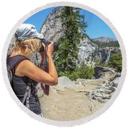 Photographer In Yosemite Waterfalls Round Beach Towel