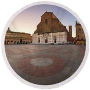 Piazza Maggiore And San Petronio Basilica In The Morning, Bologna, Emilia-romanga, Italy Round Beach Towel