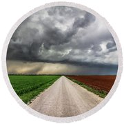 Pick A Side - Colorful Fields Divided By Road On Stormy Day In Oklahoma. Round Beach Towel