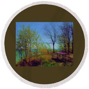 Picnic Table By The Lake Round Beach Towel