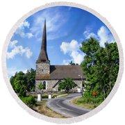 Picturesque Rural Church Round Beach Towel