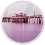 Pier In The Sea, Gulf State Park Pier Round Beach Towel