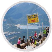 Pikes Peak Marathon And Ascent Round Beach Towel