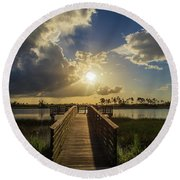 Pine Glades Sunset Round Beach Towel