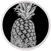 Pineapple Isolated On Black Round Beach Towel