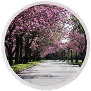 Pink Blooming Trees Round Beach Towel