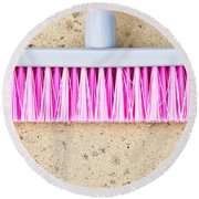 Pink Broom Round Beach Towel