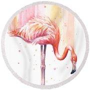 Pink Flamingo - Facing Right Round Beach Towel