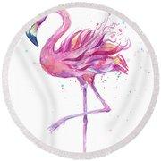 Pink Flamingo Watercolor Round Beach Towel