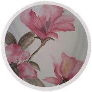 Pink Floral Round Beach Towel by Ginny Youngblood