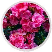 Pink Flowers Green Leaves Round Beach Towel