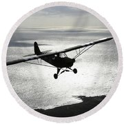 Piper L-4 Cub In Us Army D-day Colors Round Beach Towel
