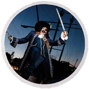 Pirate With A Treasure Chest Round Beach Towel