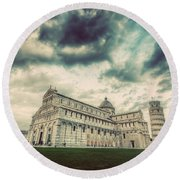 Pisa Cathedral With The Leaning Tower Of Pisa, Tuscany, Italy. Vintage Round Beach Towel