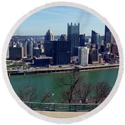 Pittsburgh Panorama Round Beach Towel