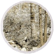 Pocono Mountain Stream, Pennsylvania, Digital Art Round Beach Towel