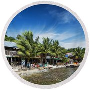 Polluted Dirty Beach With Garbage Rubbish In Koh Rong Island Cam Round Beach Towel
