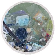Polluted Dirty Water Round Beach Towel