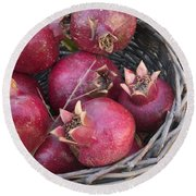 Pomegranates In A Basket Round Beach Towel