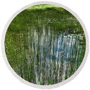 Pond Grasses Round Beach Towel