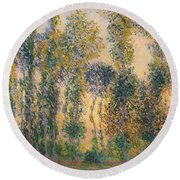Poplars At Giverny, Sunrise Round Beach Towel