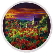 Poppies In Foy Round Beach Towel