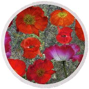 Poppies Round Beach Towel