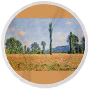 Poppy Field In Giverny  Round Beach Towel