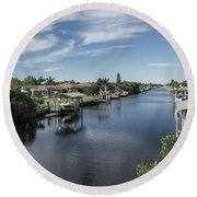 Port Charlotte Ackerman Waterway From Ohara Round Beach Towel