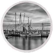 Port Royal Shrimp Boats Round Beach Towel