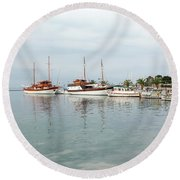 Port With Sailboat And Fishing Boat Round Beach Towel